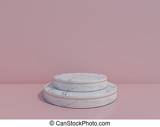 white  marble podium  on pink background. 3d rendering.