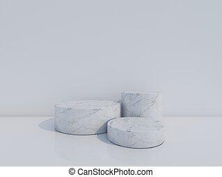 white marble podium on white background. 3d rendering.