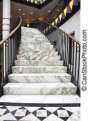 White marble stair in interior