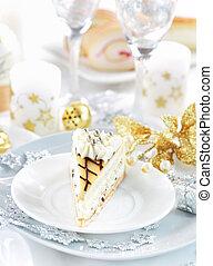 White marchpane cake for Christmas