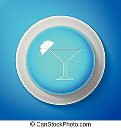White Martini glass icon isolated on blue background. Cocktail with lime symbol. Circle blue button with white line. Vector Illustration