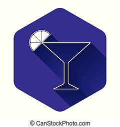 White Martini glass icon isolated with long shadow. Cocktail with lime symbol. Purple hexagon button. Vector Illustration