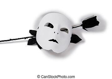 White Mask Black Rose - Plain White Mask ready for...