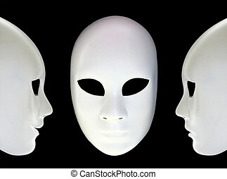 White masks on black background