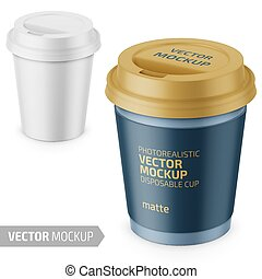 White matte disposable cup with lid template. - White matte...