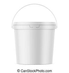 White matte plastic bucket mockup template.