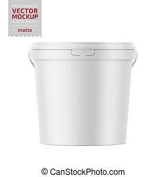 White matte plastic bucket with lid mockup. - White matte...
