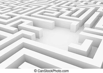 White maze, complex way to find exit. - White maze, complex...