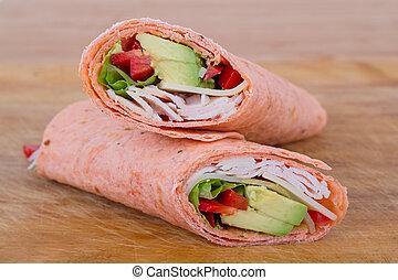 white meat wrap sandwich