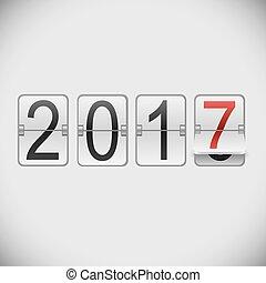 White mechanical scoreboard 2017 New Year template.