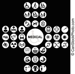 White Medical and health care Icon collection
