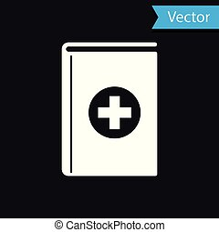 White Medical book icon isolated on black background. Vector Illustration