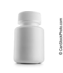 white medical bottle isolated