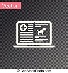 White Medical clinical record dog on laptop icon isolated on transparent background. Health insurance form. Prescription, medical check marks report. Vector Illustration