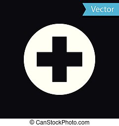 White Medical cross in circle icon isolated on black background. First aid medical symbol. Vector Illustration