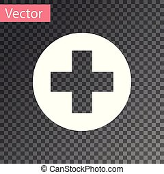 White Medical cross in circle icon isolated on transparent background. First aid medical symbol. Vector Illustration
