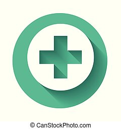 White Medical cross in circle icon isolated with long shadow. First aid medical symbol. Green circle button. Vector Illustration