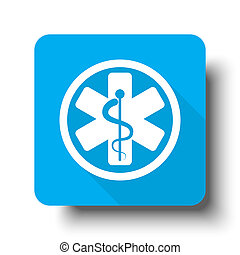 White Medical icon on blue web button