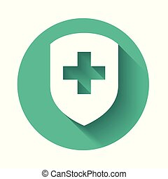 White Medical shield with cross icon isolated with long shadow. Health protection concept. Safety badge icon. Privacy banner. Security label. Green circle button. Vector Illustration