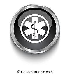 White Medical Symbol symbol on black glossy web button