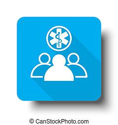 White Medical Team icon on blue web button