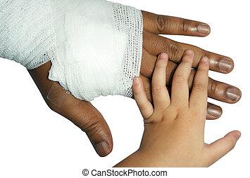 white medicine bandage on injury hand on white background