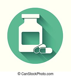 White Medicine bottle and pills icon isolated with long shadow. Bottle pill sign. Pharmacy design. Green circle button. Vector Illustration