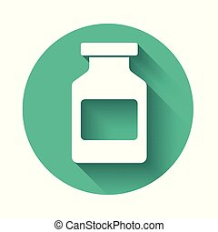 White Medicine bottle icon isolated with long shadow. Bottle pill sign. Pharmacy design. Green circle button. Vector Illustration