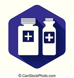 White Medicine bottle icon isolated with long shadow. Bottle pill sign. Pharmacy design. Purple hexagon button. Vector Illustration