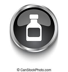 White Medicine Bottle symbol on black glossy web button