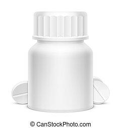 White Medicine Pill Bottle