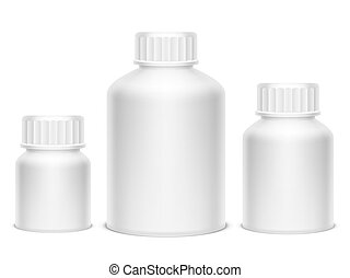 White Medicine Pill Bottles