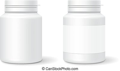 White medicine plastic bottle for tablets, pills. Realistic packaging mockup template. Vector illustration