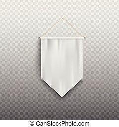 White medieval banner flag, isolated realistic wall hanging pennant