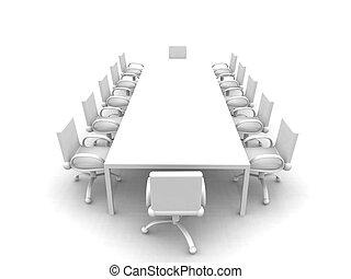 White Meeting room 1 - 3D rendered Boardroom. Sterile white...