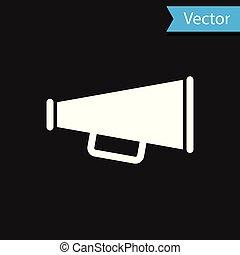 White Megaphone icon isolated on black background. Vector Illustration