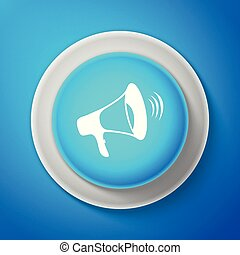 White Megaphone icon isolated on blue background. Circle blue button with white line. Vector Illustration
