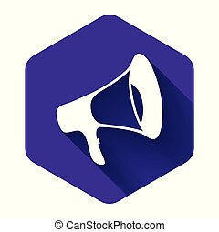 White Megaphone icon isolated with long shadow. Purple hexagon button. Vector Illustration