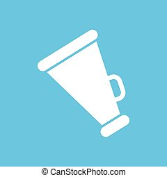 white megaphone icon on a blue background