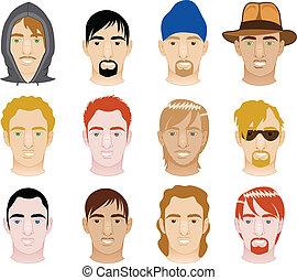 White Men Faces - Vector Illustration of 12 different White...