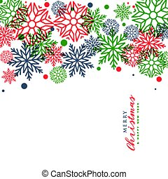 white merry christmas greeting with colorful snowflakes