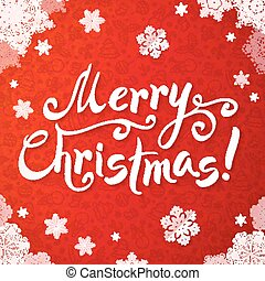 White Merry Christmas hand-writing lettering on red background