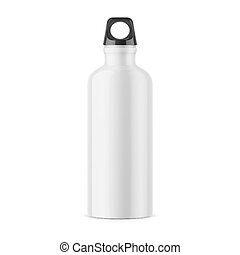 White metal water bottle template. - White glossy metal...
