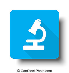 White Microscope icon on blue web button