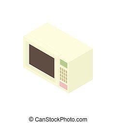 White microwave icon, cartoon style