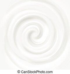 White milk, yogurt, cosmetics product swirl cream vector illustration