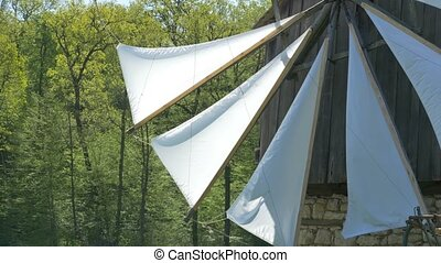 White Mill Veils - Close up shot of white wind mill sails.