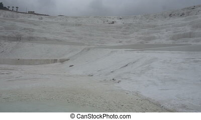 white mineral mountain in Pamukkale,Turkey - white mineral...