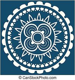 White Mini Heart Mandala Blue Background Vector Image