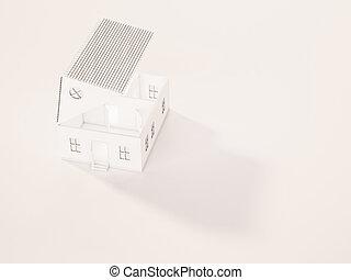 White minimal house opened roof
